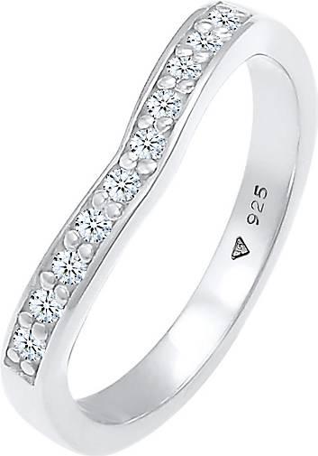 Elli PREMIUM Ring Diamanten (0.15 ct) V-Form Verlobung 925 Silber