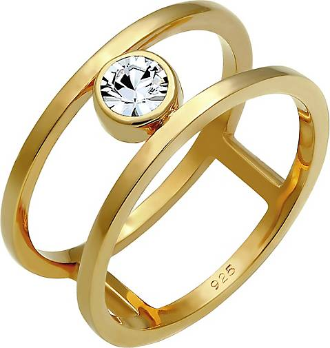 Elli PREMIUM Ring Doppelring Solitär Swarovski® Kristalle 925 Silber