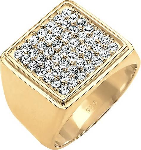 Elli PREMIUM Ring Siegelring Geo Kristalle 925 Silber