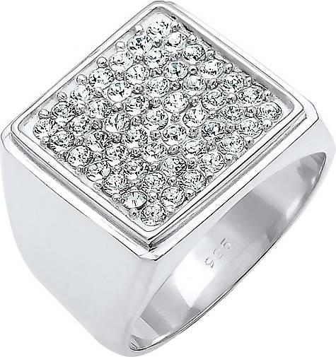 Elli PREMIUM Ring Siegelring Geo Swarovski® Kristalle 925 Silber