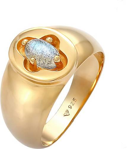 Elli PREMIUM Ring Siegelring Labradorit Kreuz 925 Silber vergoldet