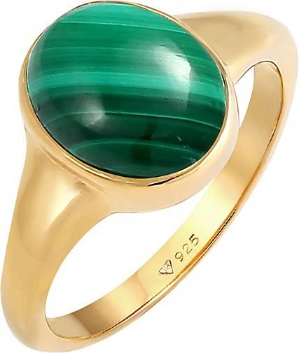 Elli PREMIUM Ring Siegelring Oval Malachit Grün Klassik 925 Silber