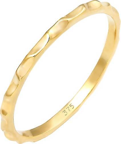Elli PREMIUM Ring Stacking Facetten Basic Minimal Look 375 Gelbgold