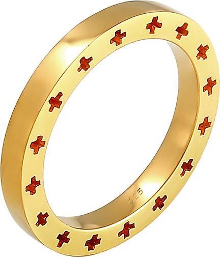 Elli Ring Bandring Kreuz Side Cut Out 925 Sterling Silber