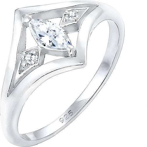 Elli Ring Bandring Zirkonia Marquise Vintage 925 Silber