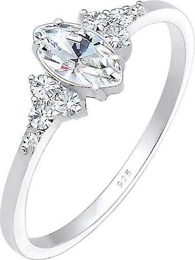 Elli Ring Funkelnd Marquise Swarovski® Kristalle 925 Silber