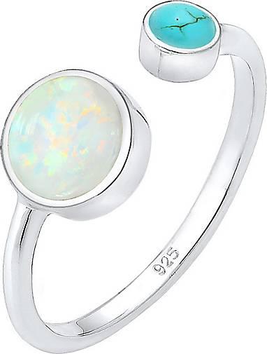 Elli Ring Geo Opal Howlith Boho Offen Verstellbar 925 Silber