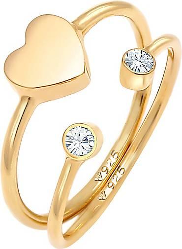 Elli Ring Herz Kristall Stabelring Set 925 Silber