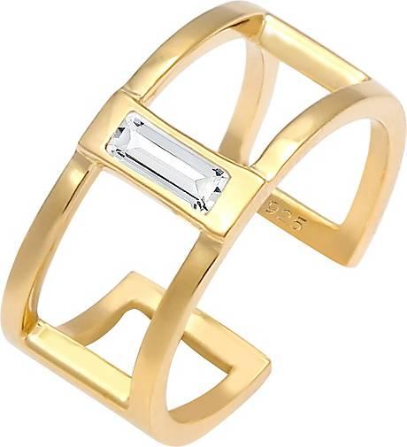 Elli Ring Offen Geo Minimal Swarovski® Kristalle 925 Silber