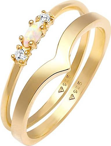 Elli Ring Set Marquise Opal Zirkonia Dreieck 925 Silber
