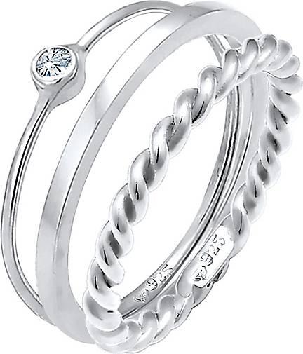Elli Ring Set Trend Solitär Swarovski® Kristalle 925 Silber