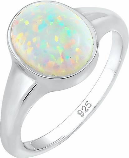Elli Ring Siegelring Synthetischer Opal Trend 925 Silber