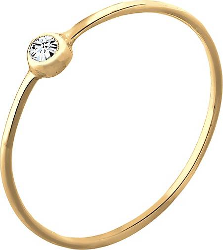 Elli Ring Solitär Stapelring Kristall 925 Silber
