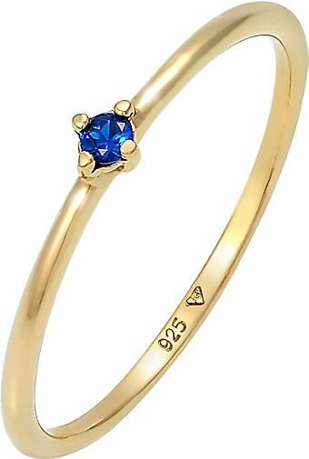 Elli Ring Solitär Verlobung synthetischer Saphir 925 Silber