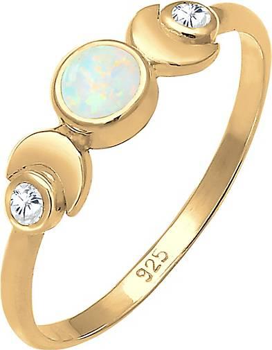 Elli Ring Vintage Design Halbmond Opal Zirkonia 925er Silber