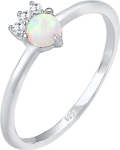 Elli Ring Vintage Zirkonia Kristalle Opal Trend 925 Silber