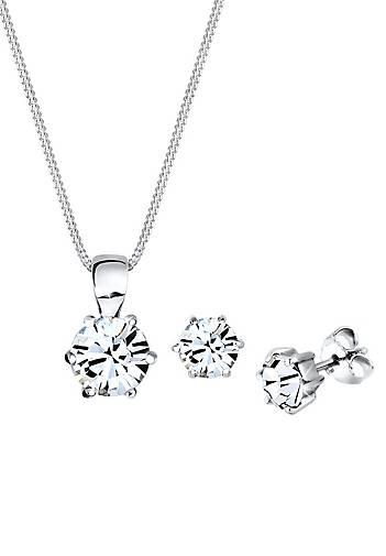 Elli Schmuckset Basic Swarovski® Kristalle Silber