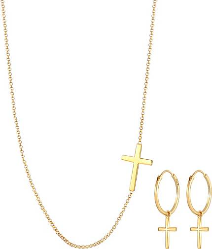 Elli Schmuckset Kette Ohrringe Kreuz Religion Glaube 925 Silber