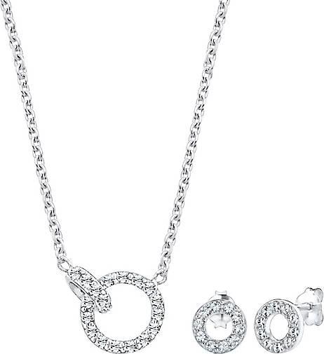 Elli Schmuckset Kette Stecker Geo Kristalle 925 Silber