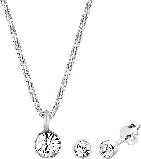 Elli Schmuckset Kette Stecker Swarovski® Kristalle 925er Silber