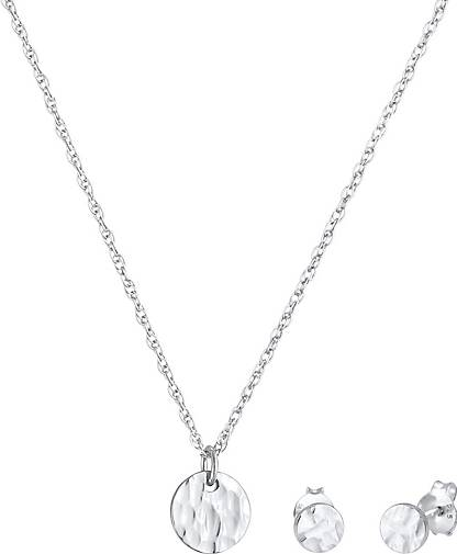 Elli Schmuckset Rund Kreis Gehämmert Halskette Stecker 925 Silber