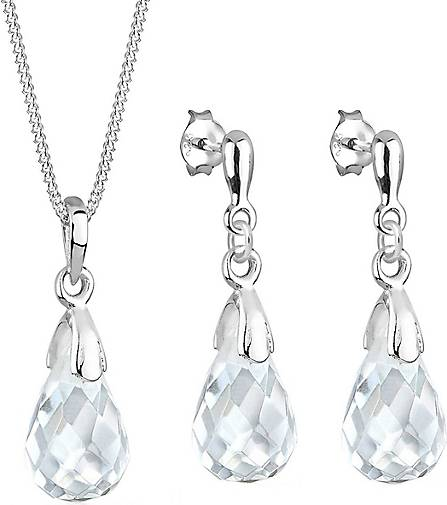Elli Schmuckset Tropfen Bergkristall 925 Sterling Silber