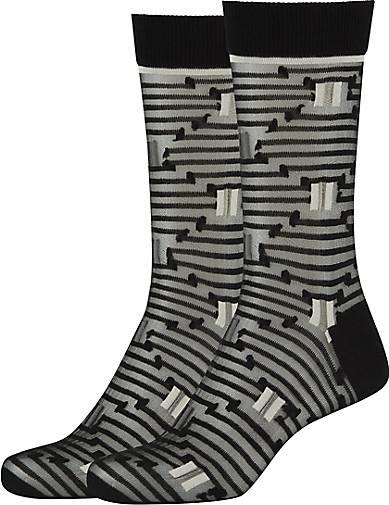 FUN Socks 2er-Pack Damen Crew Socks in trendigem Streifen-Design