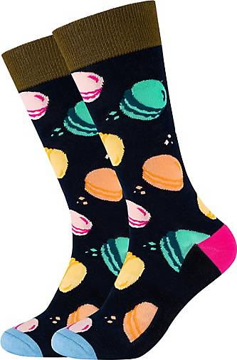 FUN Socks Crew Socks 2er Pack Macaroon mit buntem Statement-Muster