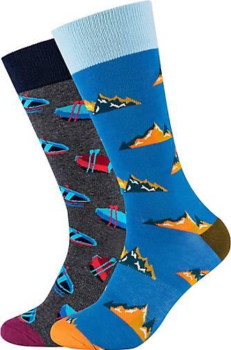 FUN Socks Socken 2er-Pack Mountain & Rowboat mit bunten Mustern