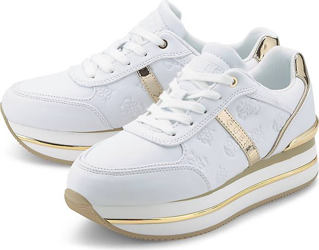 Schuhe Guess Frau Sportschuhe Runner Dafnee 4G Logo Weiß FL7DFEFAL12