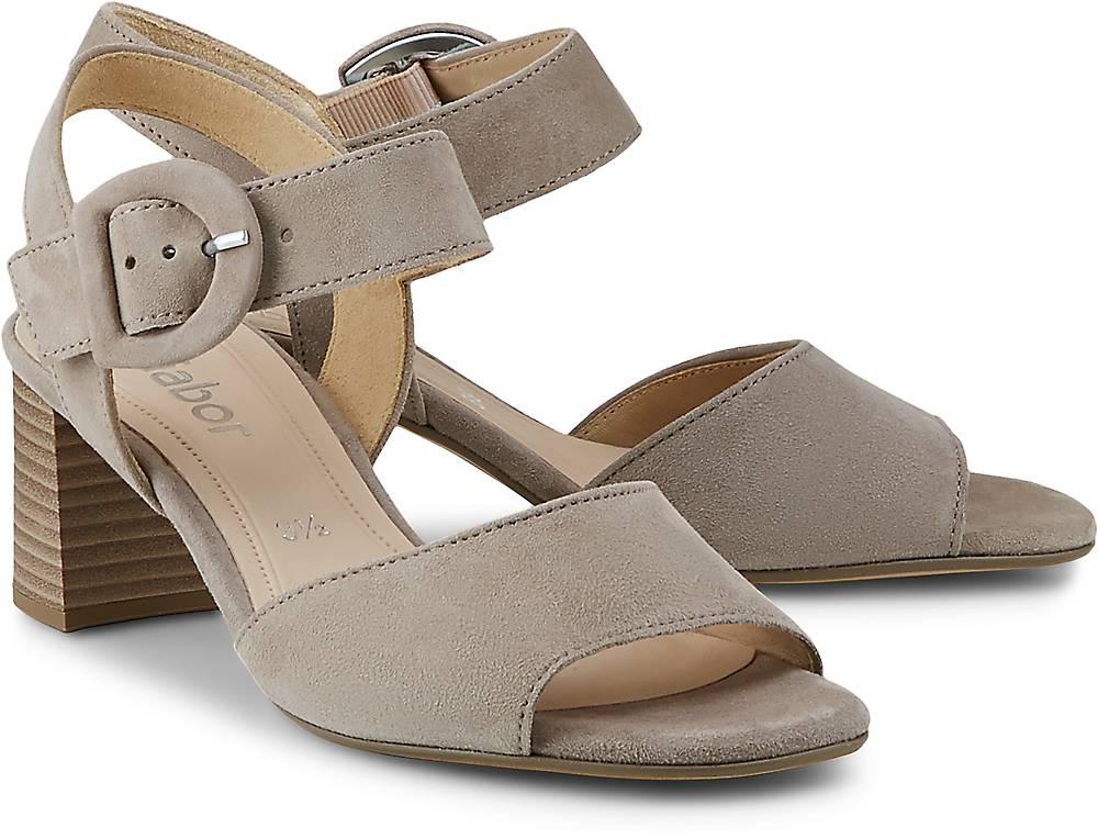 Velours-Sandalette von Gabor in taupe für Damen. Gr. 36,37,37 1/2,38,38 1/2,39,40,40 1/2,4 Preisvergleich