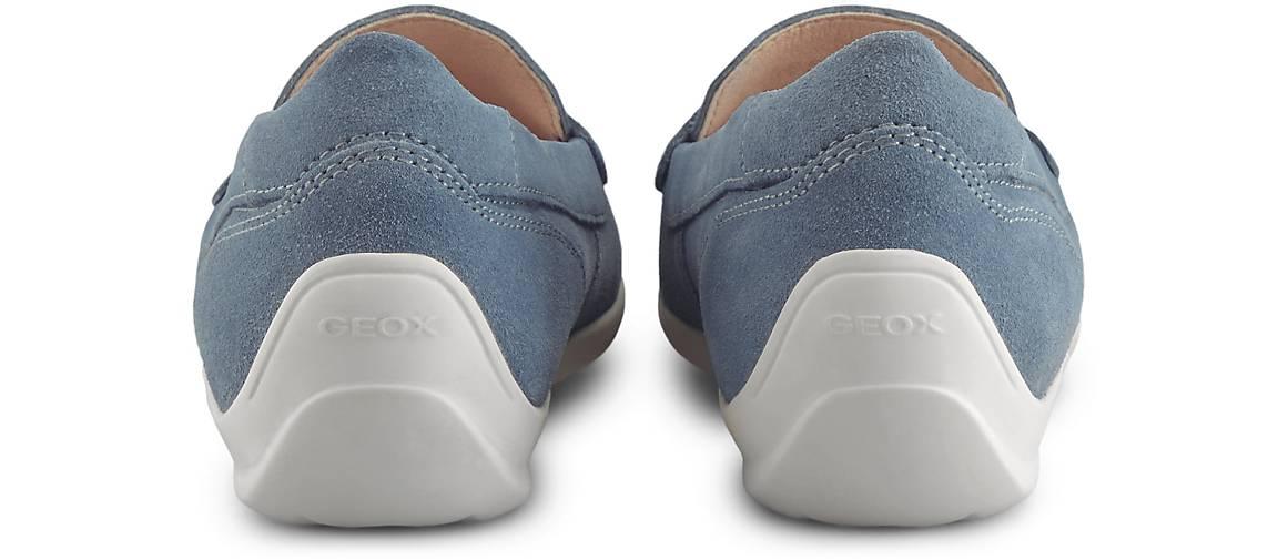 Geox – Pennyloafer aus Veloursleder Modell 'Dyuki' – Hellblau