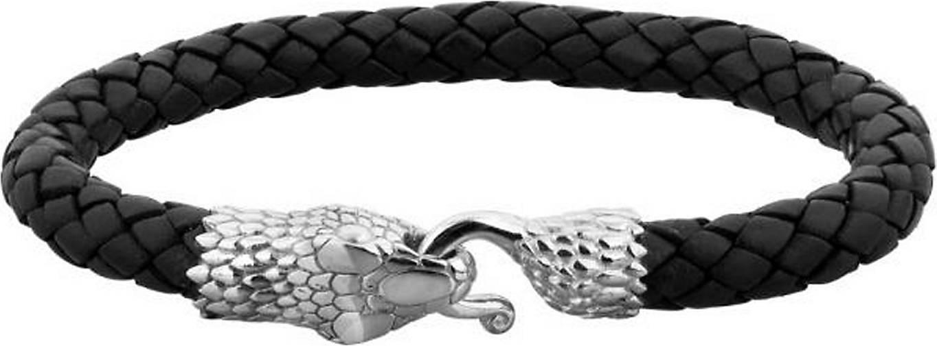 KUZZOI Armband Herren Leder Schlange Geflochten Massiv 925 Silber