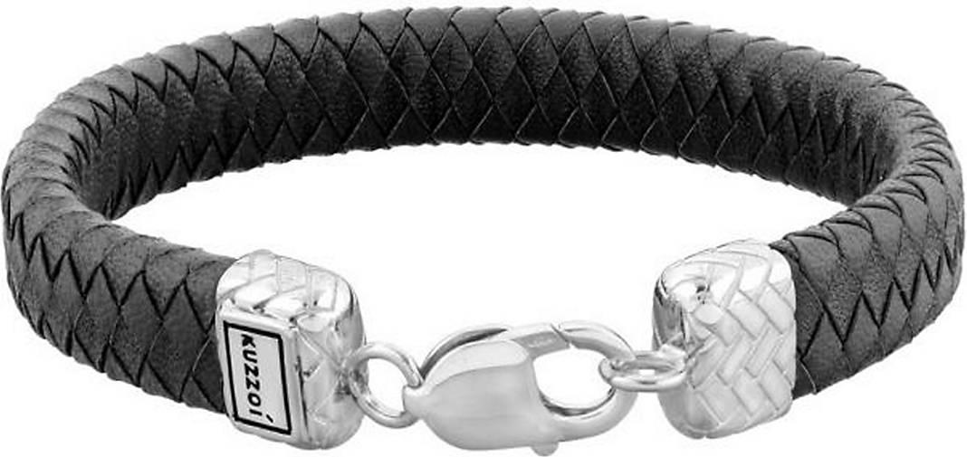 KUZZOI Armband Herren Lederband Karabiner Geflochten 925er Silber