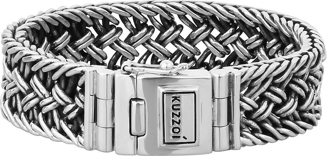 KUZZOI Armband Herren Panzerarmband Kastenverschluss 925er Silber