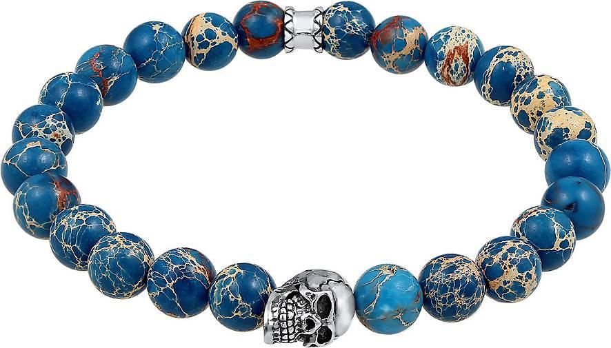 KUZZOI Armband Herren Totenkopf Blau-Gefärbter Achat 925 Silber