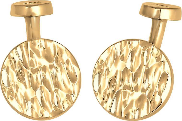 KUZZOI Manschettenknopf Plättchen Rund Gehämmert Struktur 925 Silber