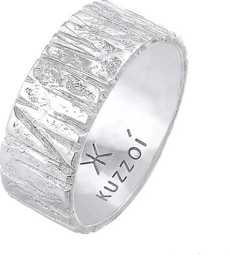 KUZZOI Ring Bandring Breit Struktur Gehämmert 925 Silber