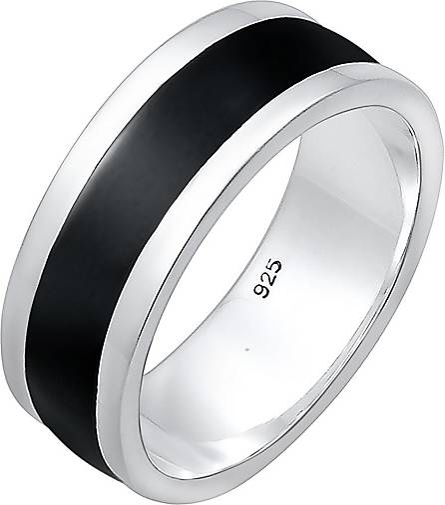 KUZZOI Ring Herren Bandring Basic Geo Emaille Casual 925 Silber