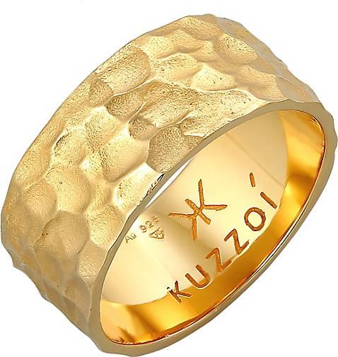 KUZZOI Ring Herren Bandring Gehämmert 925 Sterling Silber