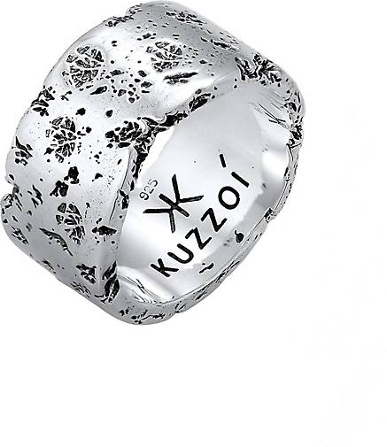 KUZZOI Ring Herren Bandring Rustikal Robuster Look  925 Silber