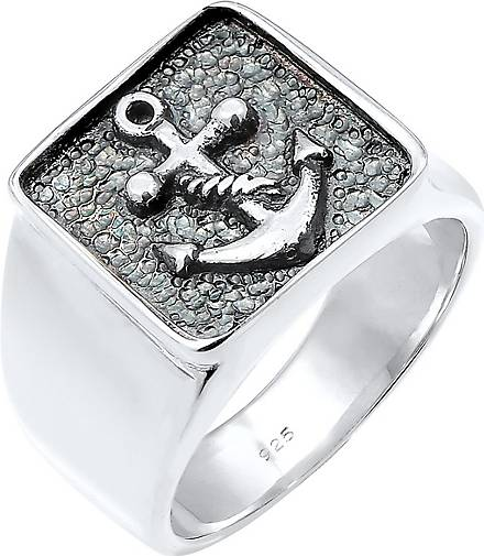 KUZZOI Ring Herren Siegelring Anker Basic Oxidiert 925 Silber