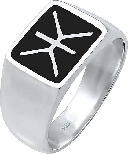 KUZZOI Ring Herren Siegelring Emaille Logo Basic 925 Silber