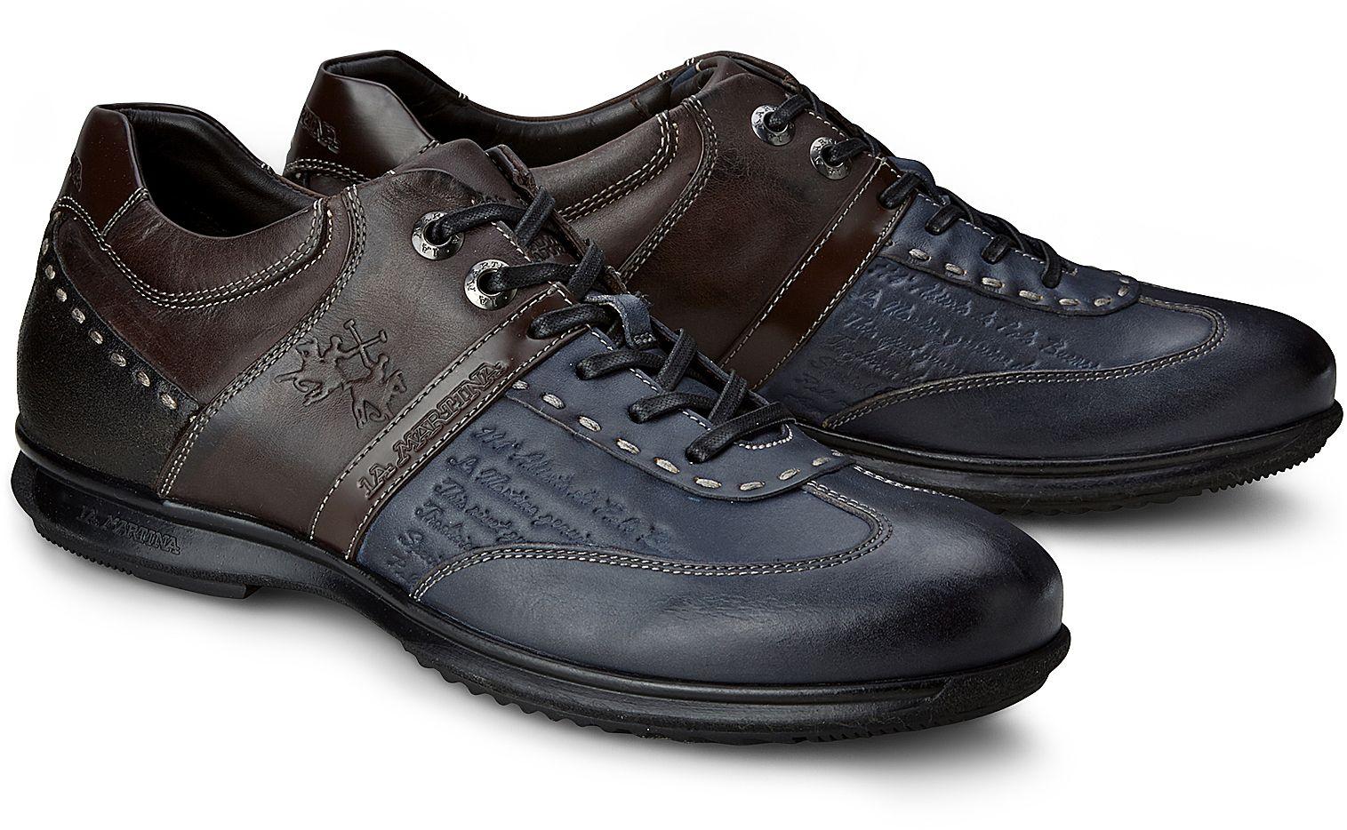 f93f886173316 Leder Sneaker von La Martina in blau dunkel für Herren. Gr.  40