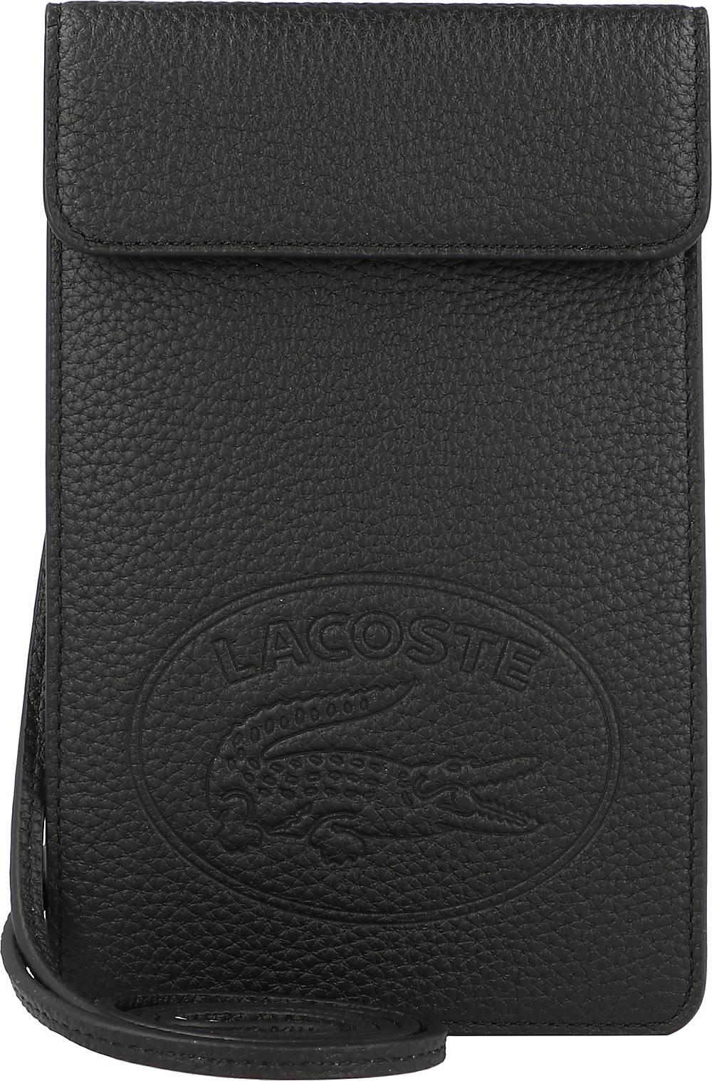 Lacoste, Croco Crew Handytasche Leder 12 Cm in schwarz, Handyhüllen & Zubehör für Damen