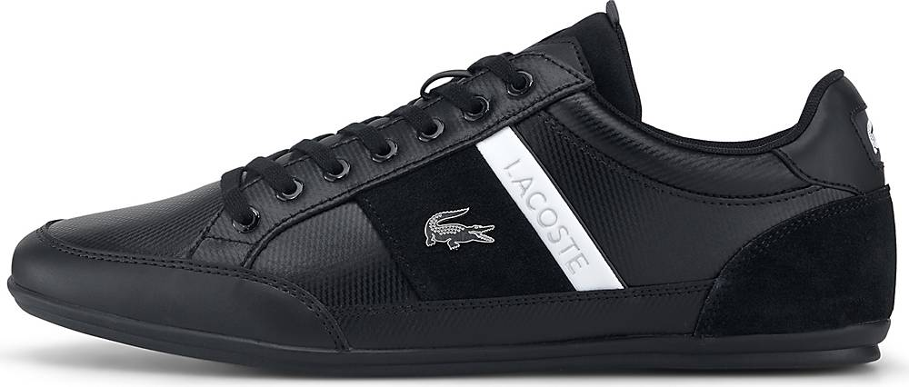 Artikel klicken und genauer betrachten! - Sneaker von Lacoste. Für ein angenehmes Tragegefühl mit der Extra-Portion Style sorgt der schwarze Sneaker von Lacoste. Bei diesem Modell wurde ein raffinierter Mix aus verschiedenen Materialien verarbeitet. Die Sneaker sind ein stylischer Begleiter für sämtliche Anlässe. Männer brauchen Schuhe, die sie auf Schritt und Tritt begleiten.   im Online Shop kaufen