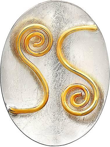 Nenalina Anhänger Schmuckanhänger Ornament Oval Bi-Color 925 Silber