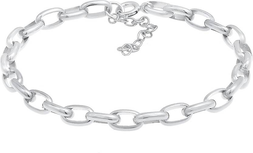 Nenalina Armband Charmträger Gliederarmband Oval Basic 925 Silber