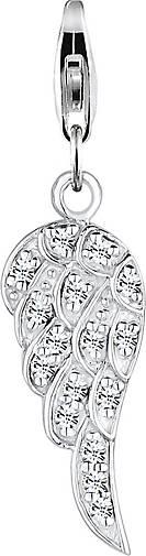 Nenalina Charm Anhänger Flügel Kristalle 925 Silber