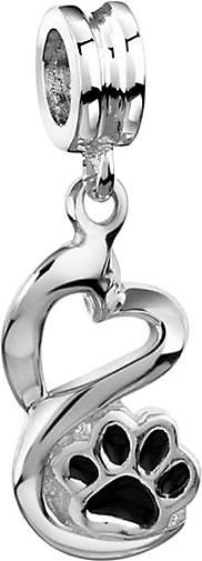 Nenalina Charm Bead Pfoten Herz Emaille 925 Sterling Silber